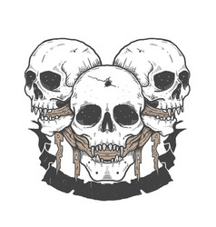 Triple skull halloween vector
