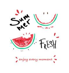 tropical summer slogan print watermelon vector image
