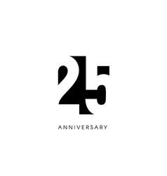 Twenty five anniversary minimalistic logo vector