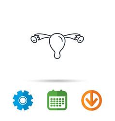 Uterus icon ovary sign vector