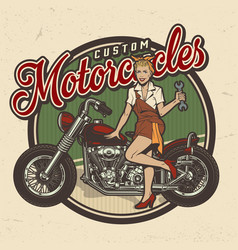 Vintage colorful motorcycle repair service logo vector