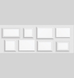 white photo frame realistic wooden or plastic vector image