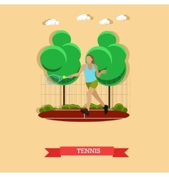 Woman playing tennis on the court flat design vector