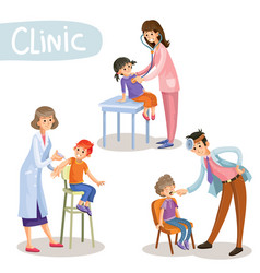 Working in clinic pediatrician cartoon vector