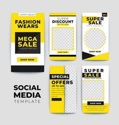 Yellow and black sale banner instagram stories vector