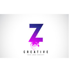 Z purple letter logo design with liquid effect vector
