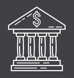 Bank building line icon business and finance vector