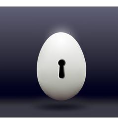Chicken egg with a door bore a dark background vector