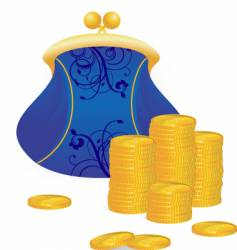 coins and purse vector image vector image
