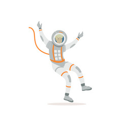 man training before flight in cosmos cartoon vector image vector image