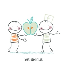 nutritionist gives the patient an apple vector image