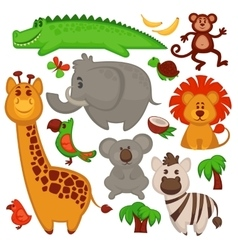 Set Of Different cute African Animals vector image vector image