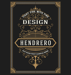 baroque frame and label design vector image