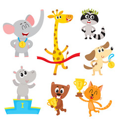cute little animal characters champions winners vector image vector image