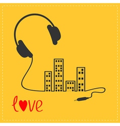 Headphones cord in shape of equalizer building vector image