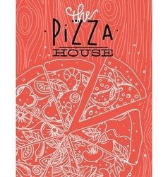 Poster pizza wood coral vector image vector image