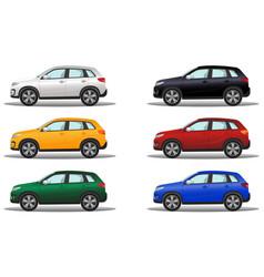 set of luxury terrain vehicles in six different vector image