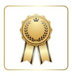 Award ribbon gold icon laurel wreath crown vector image vector image