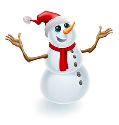 christmas snowman wearing santa hat vector image vector image