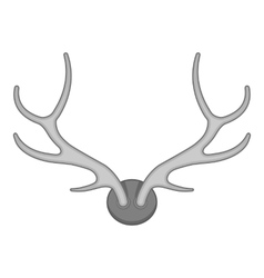 Deer antler icon black monochrome style vector image vector image