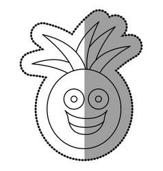Figure kawaii fruit pineapple happy icon vector