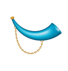 hunting horn in blue design with golden chain vector image