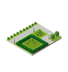 isometric buildings city park vector image