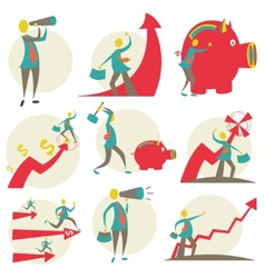 Set of character businessman vector image
