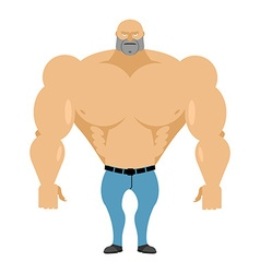 Strong man bare-chested in blue jeans Athletic vector image vector image