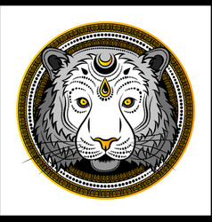 stylized tiger face hand drawn doodle vector image vector image