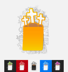 Tombstone paper sticker with hand drawn elements vector