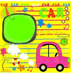 Car Loaded For a Traveling Sun Palms and Gulls vector image