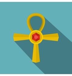 Golden Ankh symbol icon flat style vector image