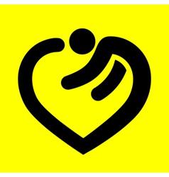 heart symbol in human form vector image vector image