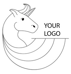 logo with a unicorn for your company pegasus icon vector image