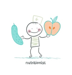 nutritionist holding cucumber and apple vector image vector image