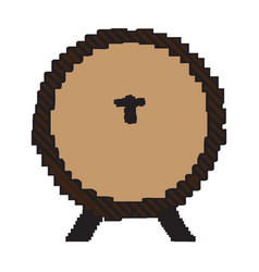 pixelated wooden beer barrel vector image vector image