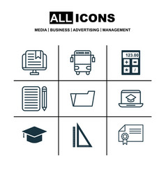 set of 9 school icons includes e-study transport vector image vector image