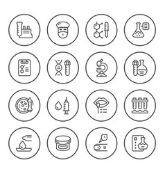 set round line icons of medical analysis vector image vector image