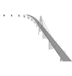 3D bridge City buildings view vector