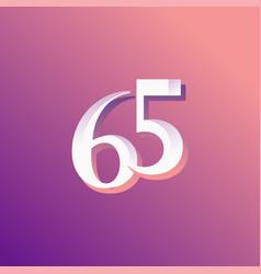 65 years anniversary rainbow number template vector