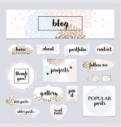 A set of blog design elements kit frames vector