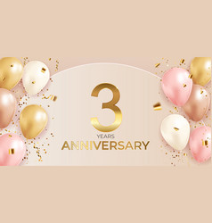 Anniversary design with confetti and balloons vector