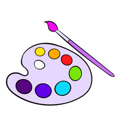 Art palette with paint brush icon cartoon vector