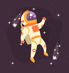 Astronaut working in outer space vector