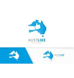 australia and like logo combination vector image