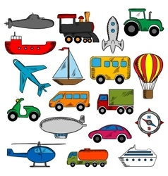 Aviation transportation and ship icons vector