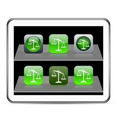 Balance green app icons vector image