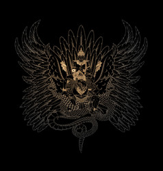 Balinese golden garuda bird and god vishnu vector