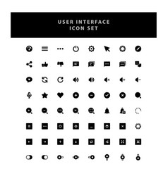 basic user interface icons set with glyph style vector image